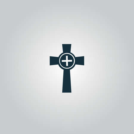 rite: Tombstone - cross gravestone. Flat web icon or sign isolated on grey background. Collection modern trend concept design style vector illustration symbol Illustration
