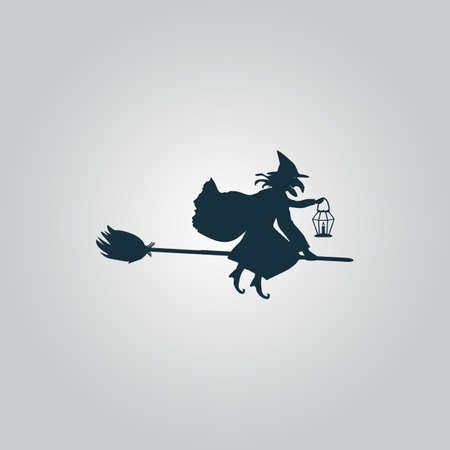 bruja: Bruja de Halloween. Silueta. Web icono plano o signo aislado sobre fondo gris. Colección tendencia concepto de estilo moderno diseño ilustración vectorial símbolo