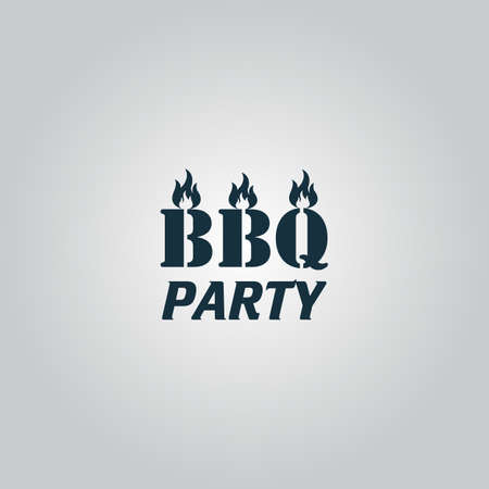 sizzling: Flaming BBQ Party word design element. Flat web icon or sign isolated on grey background. Collection modern trend concept design style vector illustration symbol