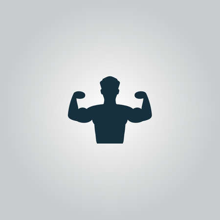 arm muscles: Bodybuilder Fitness Model. Flat web icon or sign isolated on grey background. Collection modern trend concept design style vector illustration symbol Illustration