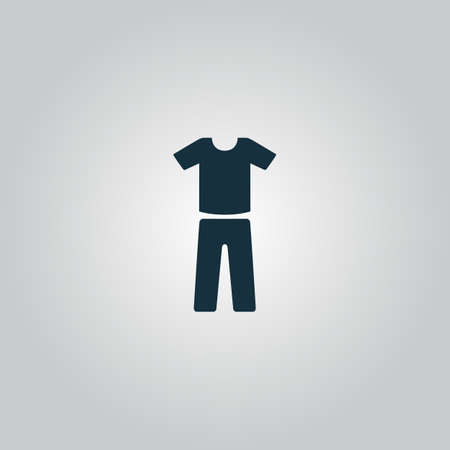 v neck: Uniform - pants and t-shirt. Flat web icon or sign isolated on grey background. Collection modern trend concept design style vector illustration symbol Illustration
