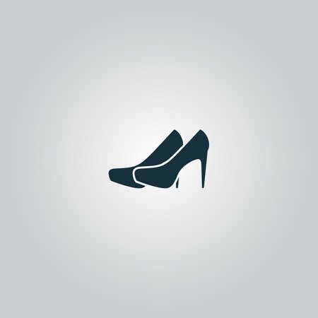 upmarket: Pair of shoes. Flat web icon or sign isolated on grey background. Collection modern trend concept design style vector illustration symbol