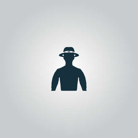gentleman's: Man with broad-brim. Flat web icon or sign isolated on grey background. Collection modern trend concept design style vector illustration symbol