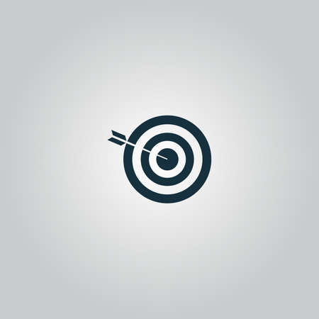 bullseye: Successful shoot. Flat web icon or sign isolated on grey background. Collection modern trend concept design style vector illustration symbol