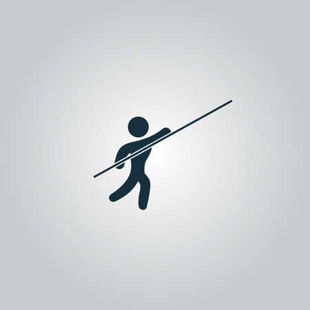 pole vault: Pole vault athlete. Flat web icon or sign isolated on grey background. Collection modern trend concept design style vector illustration symbol