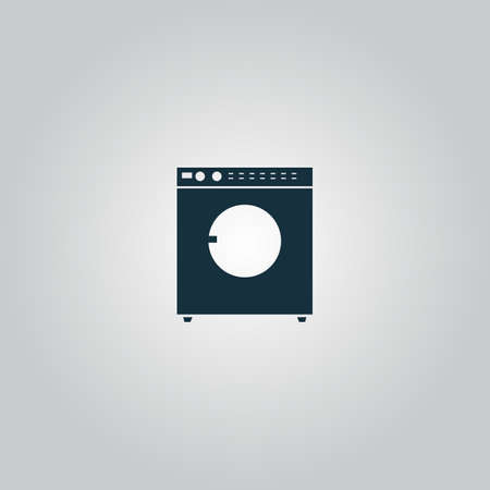 fully automatic: Washing machine. Flat web icon or sign isolated on grey background. Collection modern trend concept design style vector illustration symbol