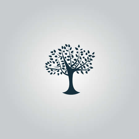 family gardening: Decorative simple tree. Flat web icon or sign isolated on grey background. Collection modern trend concept design style vector illustration symbol Illustration