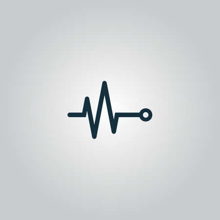 simple life: Life line - Heart beat, cardiogram. Flat web icon or sign isolated on grey background. Collection modern trend concept design style vector illustration symbol
