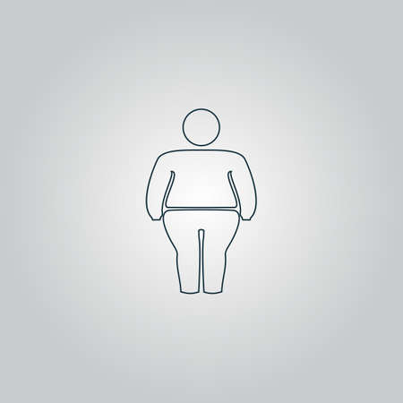 obeseness: Overweight man symbol. Flat web icon, sign or button isolated on grey background. Collection modern trend concept design style vector illustration symbol Illustration