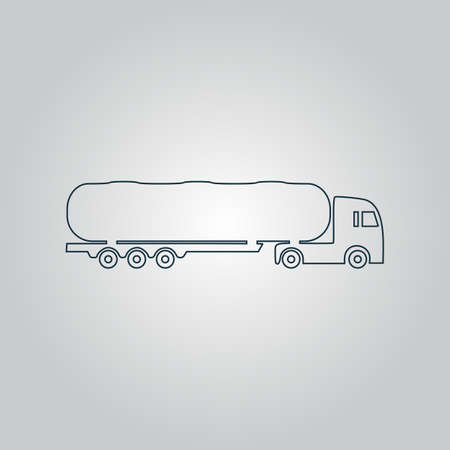 waggon: Tank car. Trailer Flat web icon, sign or button isolated on grey background. Collection modern trend concept design style vector illustration symbol Illustration
