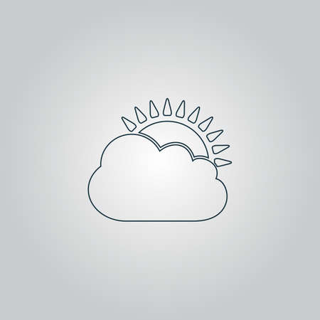 rooster at dawn: Sun cloud icon. Flat web icon, sign or button isolated on grey background. Collection modern trend concept design style vector illustration symbol