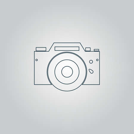 whim of fashion: Digital photo camera Flat web icon, sign or button isolated on grey background. Collection modern trend concept design style vector illustration symbol