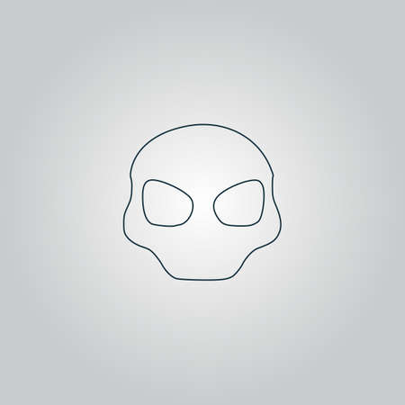 extra terrestrial: Alien Head. Flat web icon, sign or button isolated on grey background. Collection modern trend concept design style vector illustration symbol