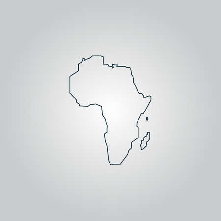 Africa Map. Flat web icon, sign or button isolated on grey background. Collection modern trend concept design style vector illustration symbol Vector