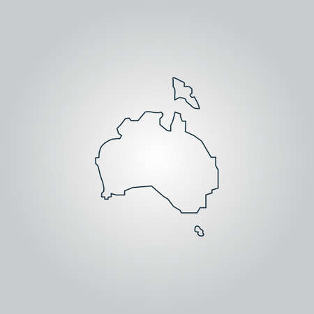 Australia map. Flat web icon, sign or button isolated on grey background. Collection modern trend concept design style vector illustration symbol Vector