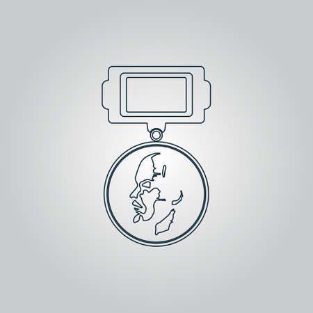 Soviet military Lenin order. Flat web icon, sign or button isolated on grey background. Collection modern trend concept design style vector illustration symbol