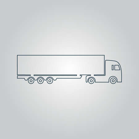 detailed trucks silhouettes. Flat web icon, sign or button isolated on grey background. Collection modern trend concept design style vector illustration symbol