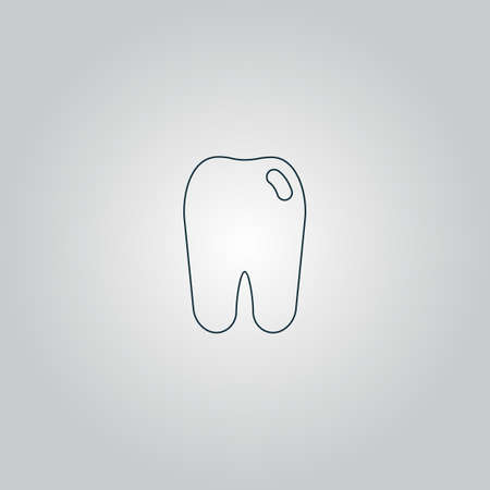 mouth pain: Tooth icon. Flat web icon, sign or button isolated on grey background. Collection modern trend concept design style vector illustration symbol