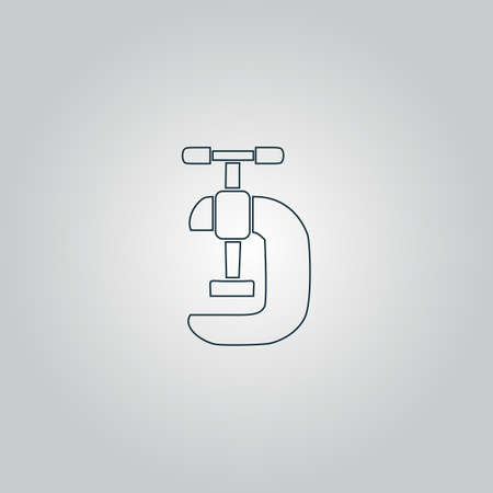 lever arm: Press. Flat web icon, sign or button isolated on grey background. Collection modern trend concept design style vector illustration symbol