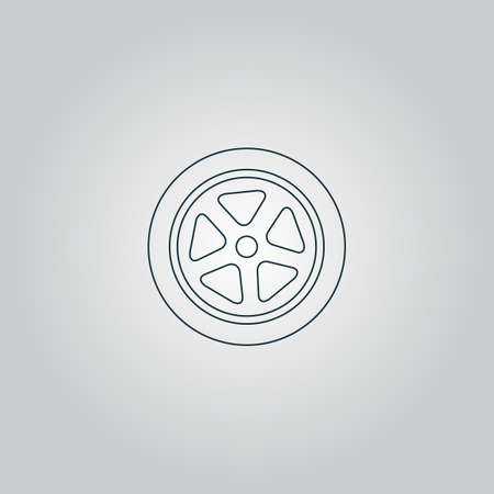 Wheel. Flat web icon, sign or button isolated on grey background. Collection modern trend concept design style vector illustration symbol Vector