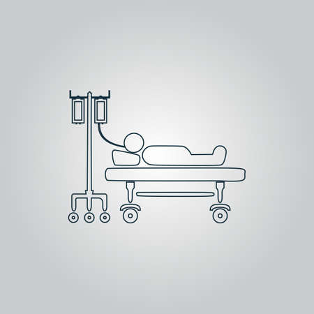 hospitalized: Life hospitalized. Flat web icon, sign or button isolated on grey background. Collection modern trend concept design style vector illustration symbol