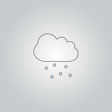 hail: Cloud with hail. Flat web icon, sign or button isolated on grey background. Collection modern trend concept design style vector illustration symbol