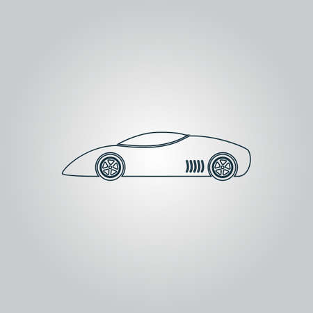 fast car: Silhouette of sport car for racing sports. Flat web icon, sign or button isolated on grey background. Collection modern trend concept design style vector illustration symbol