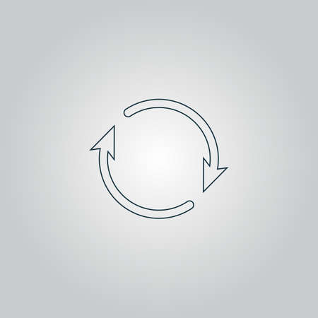roundabout: Arrow circle - cycle, loop, roundabout . Flat web icon, sign or button isolated on grey background. Collection modern trend concept design style vector illustration symbol