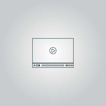 windows media video: Video player for web. Flat web icon, sign or button isolated on grey background. Collection modern trend concept design style vector illustration symbol