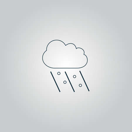 hail: Cloud it is raining and hail. Flat web icon, sign or button isolated on grey background. Collection modern trend concept design style vector illustration symbol Illustration