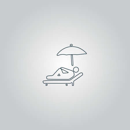 laziness: Relax under an umbrella on a lounger. Flat web icon, sign or button isolated on grey background. Collection modern trend concept design style vector illustration symbol Illustration