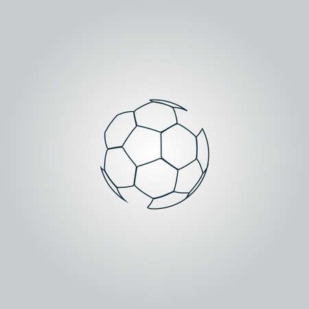Voetbalbal - voetbal. Vlak web pictogram, teken of knop geïsoleerd op grijze achtergrond. Collectie moderne trend concept design stijl vector illustratie symbool Stockfoto - 41564882