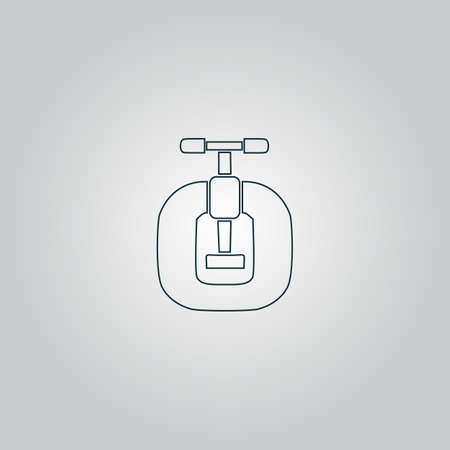 vices: Bench vices. Flat web icon, sign or button isolated on grey background. Collection modern trend concept design style vector illustration symbol Illustration