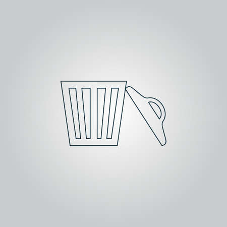 scrapyard: Trash can. Flat web icon, sign or button isolated on grey background. Collection modern trend concept design style vector illustration symbol