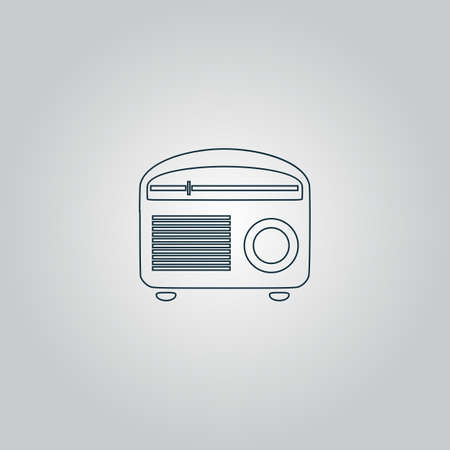 restored: Retro revival radios tuner. Flat web icon, sign or button isolated on grey background. Collection modern trend concept design style vector illustration symbol