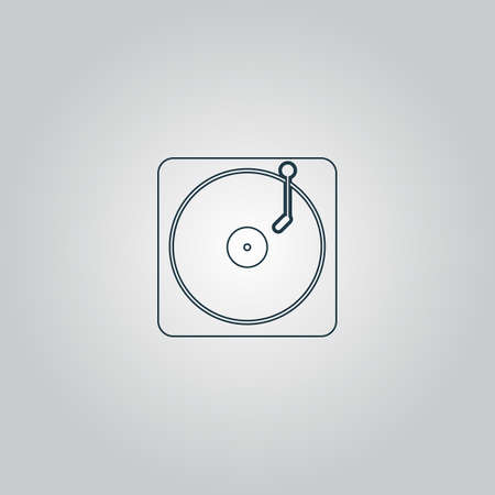 electronic 80s: Turntable dj. Flat web icon, sign or button isolated on grey background. Collection modern trend concept design style vector illustration symbol Illustration