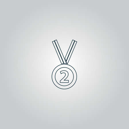 silver medal: Second place award silver medal with ribbon. Flat web icon or sign isolated on grey background. Collection modern trend concept design style vector illustration symbol