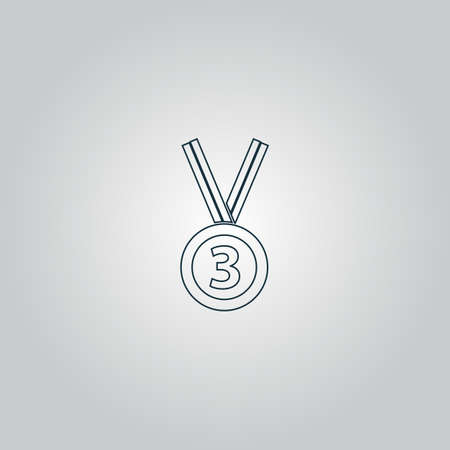 accomplishment: Bronze medal with ribbon. third prize, award accomplishment. 3nd place Illustration