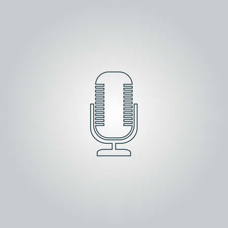 entertaining presentation: microphone. Flat web icon or sign isolated on grey background. Collection modern trend concept design style vector illustration symbol