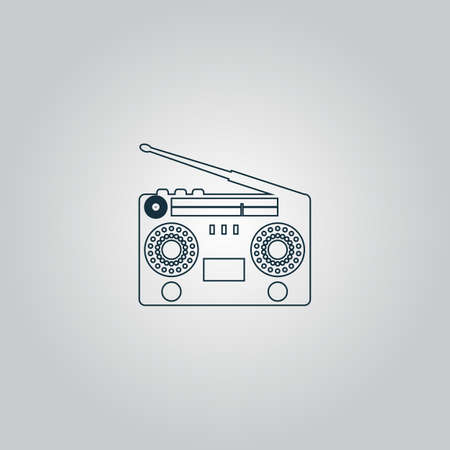 stereo cut: Classic 80s boombox. Flat web icon or sign isolated on grey background. Collection modern trend concept design style vector illustration symbol