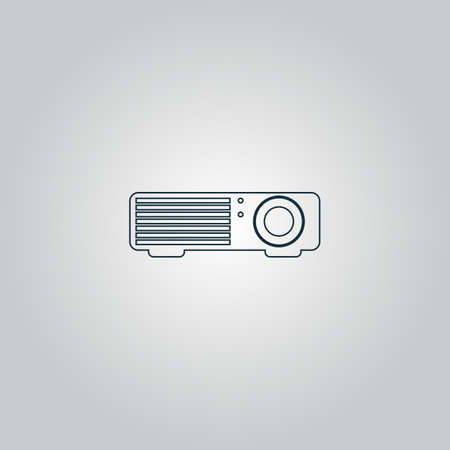 taught: Projector. Flat web icon or sign isolated on grey background. Collection modern trend concept design style vector illustration symbol