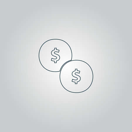 monet: Dollars money coin. Flat web icon or sign isolated on grey background. Collection modern trend concept design style vector illustration symbol