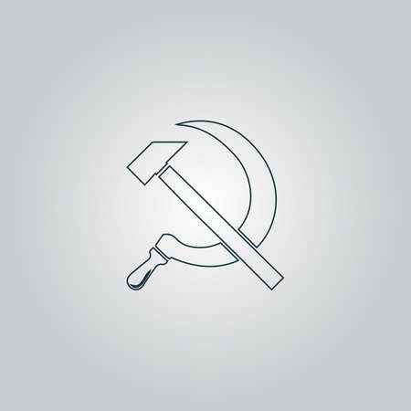 hammer and sickle: Hammer and sickle. Flat web icon or sign isolated on grey background. Collection modern trend concept design style vector illustration symbol