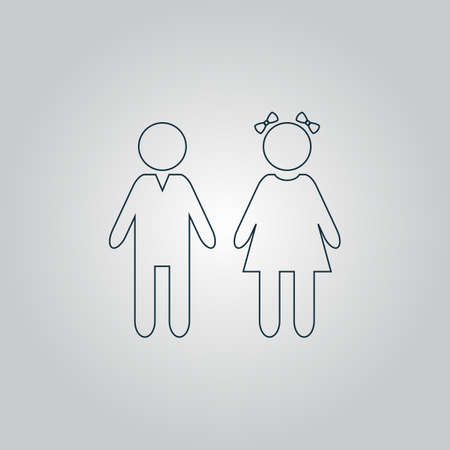 doughter: Girl and boy. Flat web icon or sign isolated on grey background. Collection modern trend concept design style vector illustration symbol Illustration