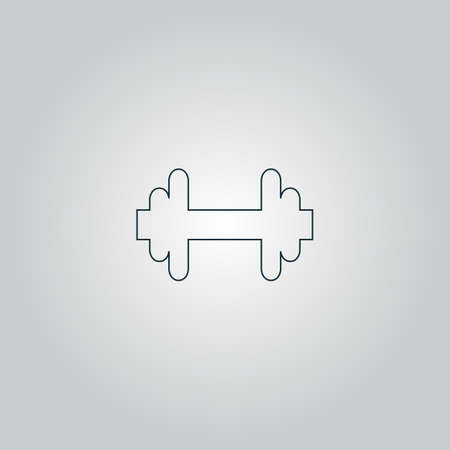 dumbell: Dumbbell. Flat web icon or sign isolated on grey background. Collection modern trend concept design style vector illustration symbol