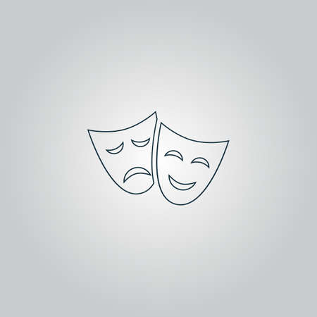 faces: Happy and sad Theater masks. Flat web icon or sign isolated on grey background. Collection modern trend concept design style vector illustration symbol