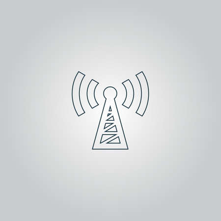 radio mast: Transmitter. Flat web icon or sign isolated on grey background. Collection modern trend concept design style vector illustration symbol Illustration