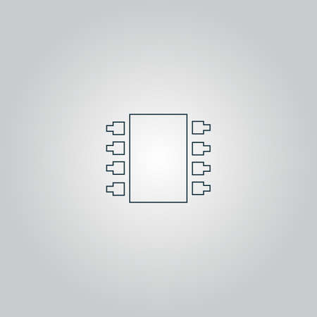 micro drive: Microchip. Flat web icon or sign isolated on grey background. Collection modern trend concept design style vector illustration symbol