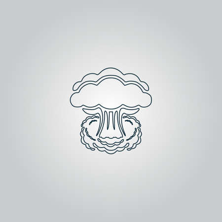 hydrogen bomb: Mushroom cloud, nuclear explosion, silhouette. Flat web icon or sign isolated on grey background. Collection modern trend concept design style vector illustration symbol Illustration