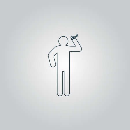 drunkard: man with a cigarette. Flat web icon or sign isolated on grey background. Collection modern trend concept design style vector illustration symbol